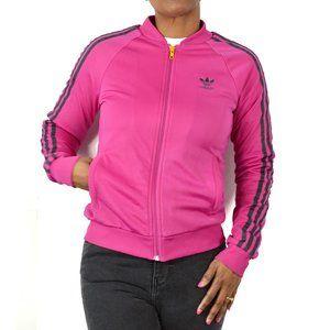 Adidas Track Jacket Pink 3 Stripe Logo Size Small